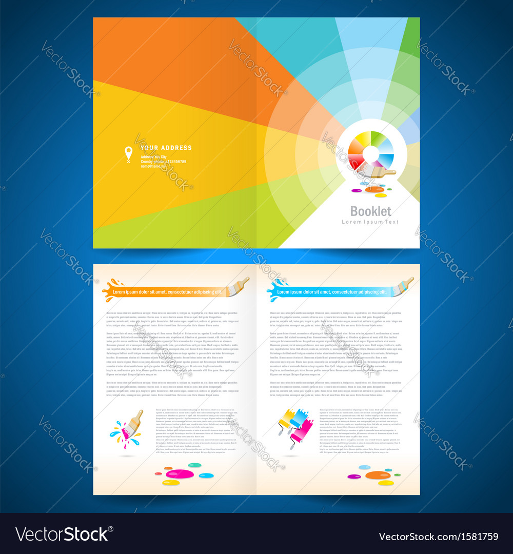Booklet catalog brochure paint brush colorful vector