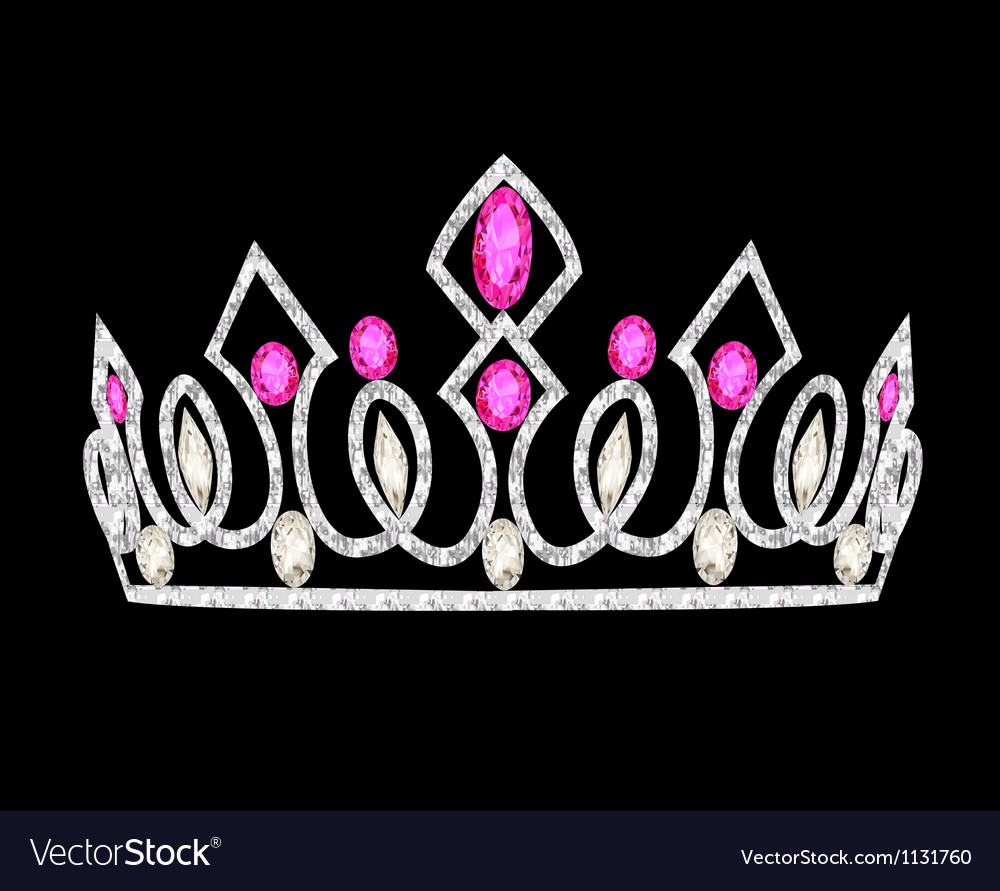 Tiara crown womens wedding with pink stones vector
