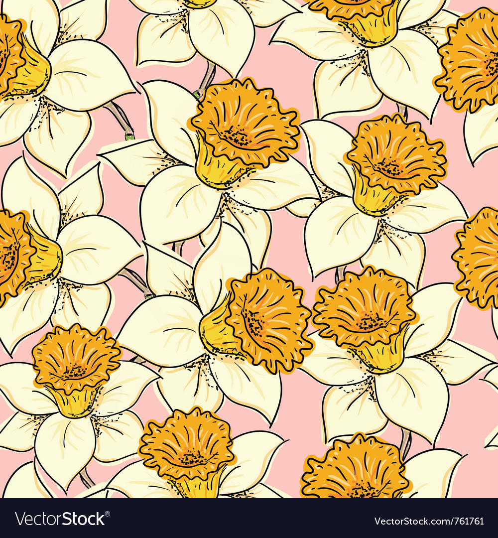 Seamless pattern with daffodil vector