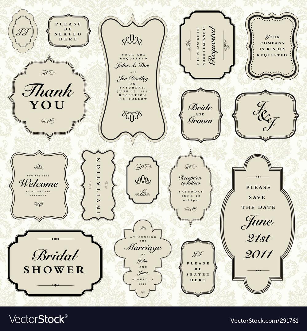 Wedding frame set vector