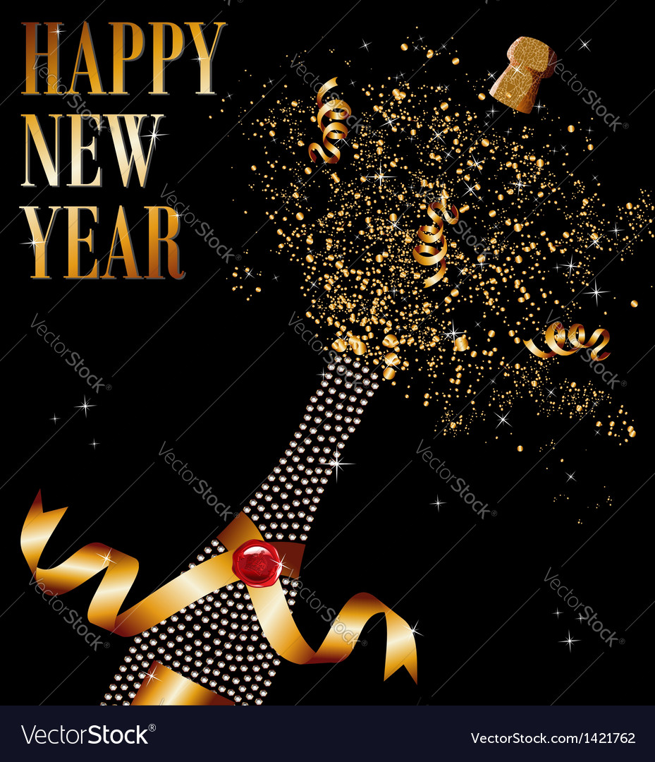 Diamond champagne bottle uncorked in new year vector