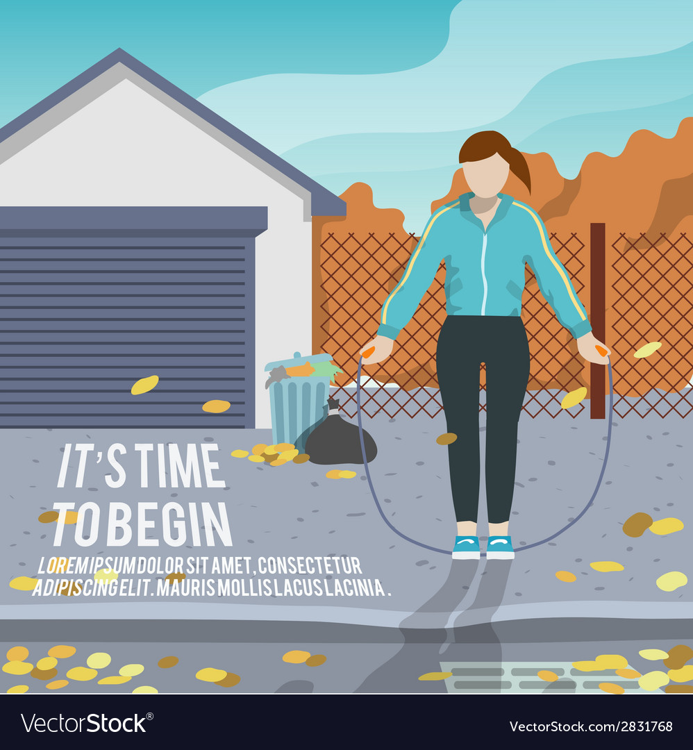 Woman with jump rope fitness poster vector