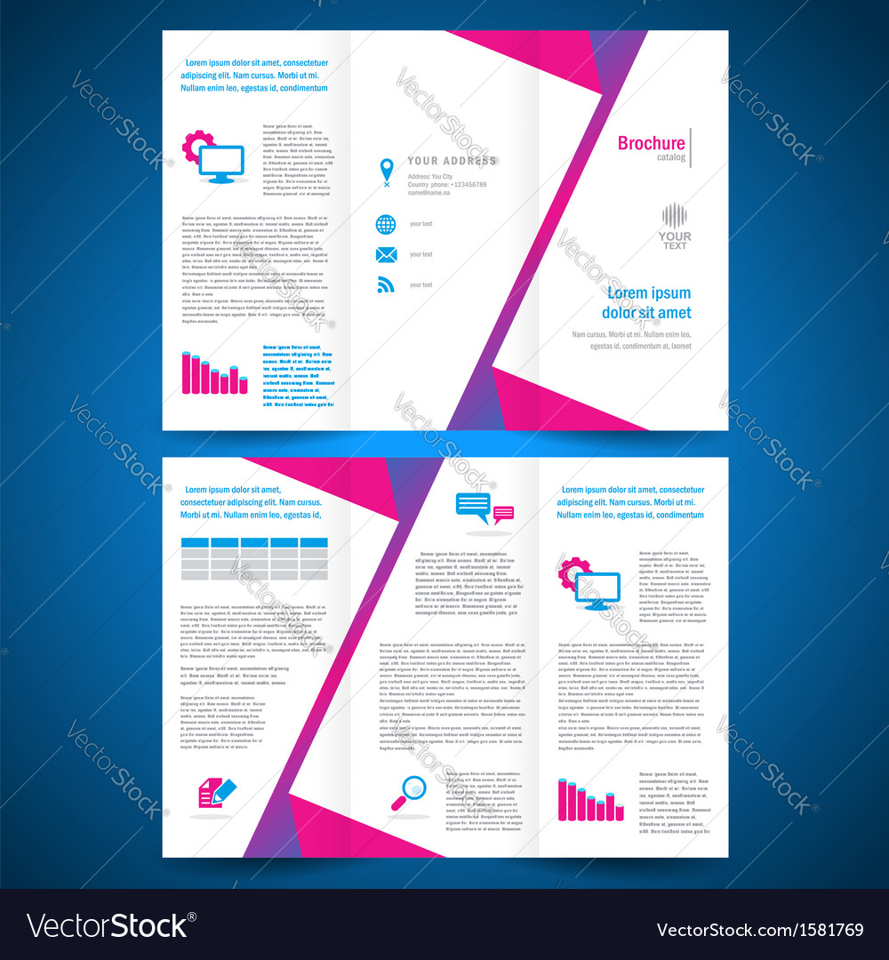 Brochure folder leaflet origami geometric vector