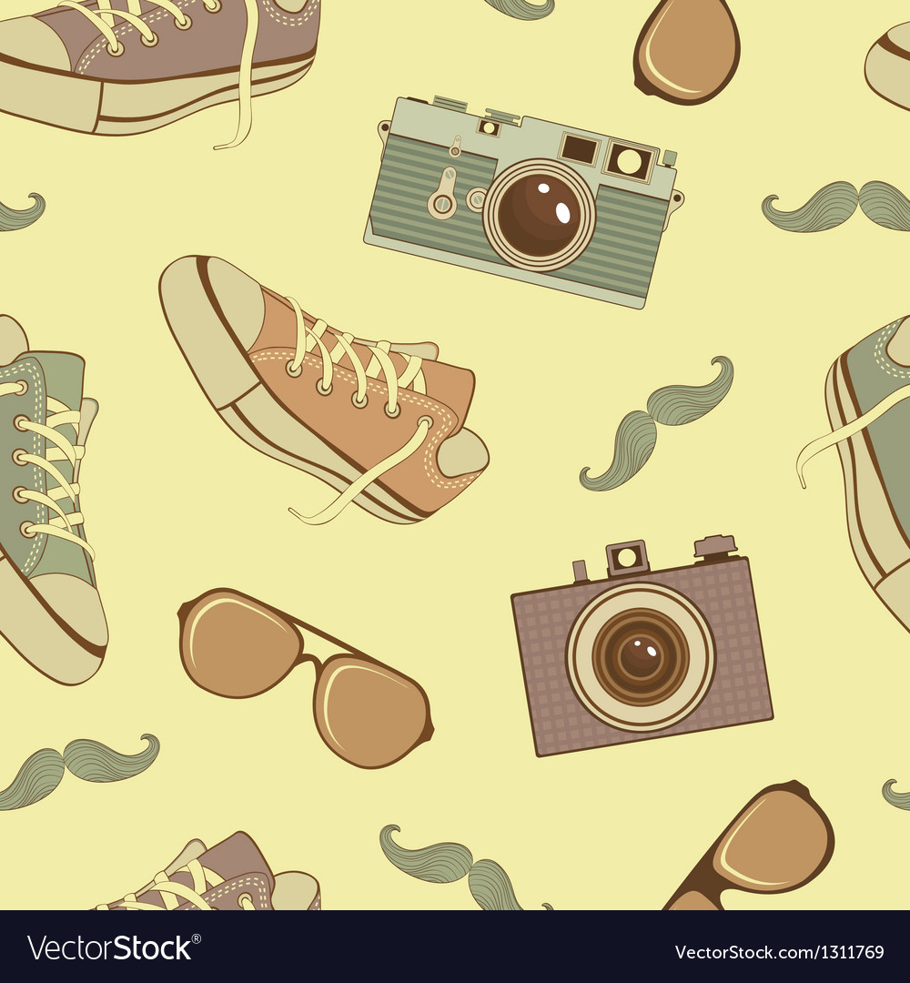 Hipster seamless background vector