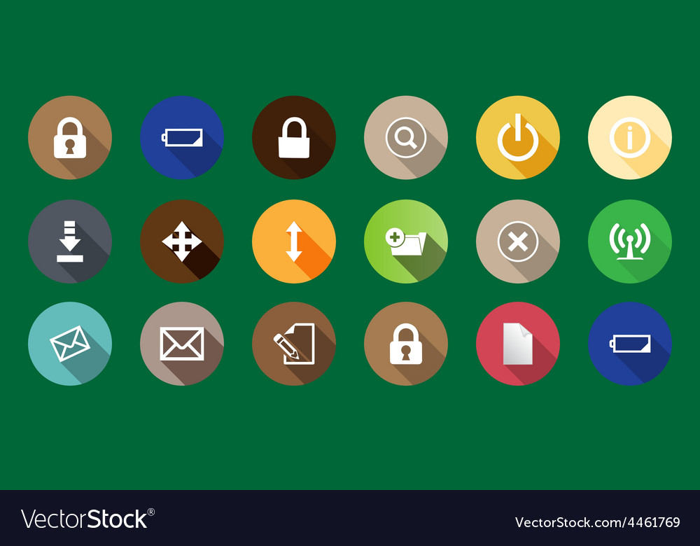 Set of computer icons in a flat design long vector