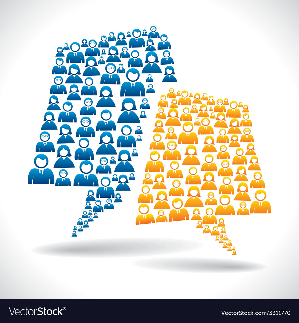Group of people message bubble vector