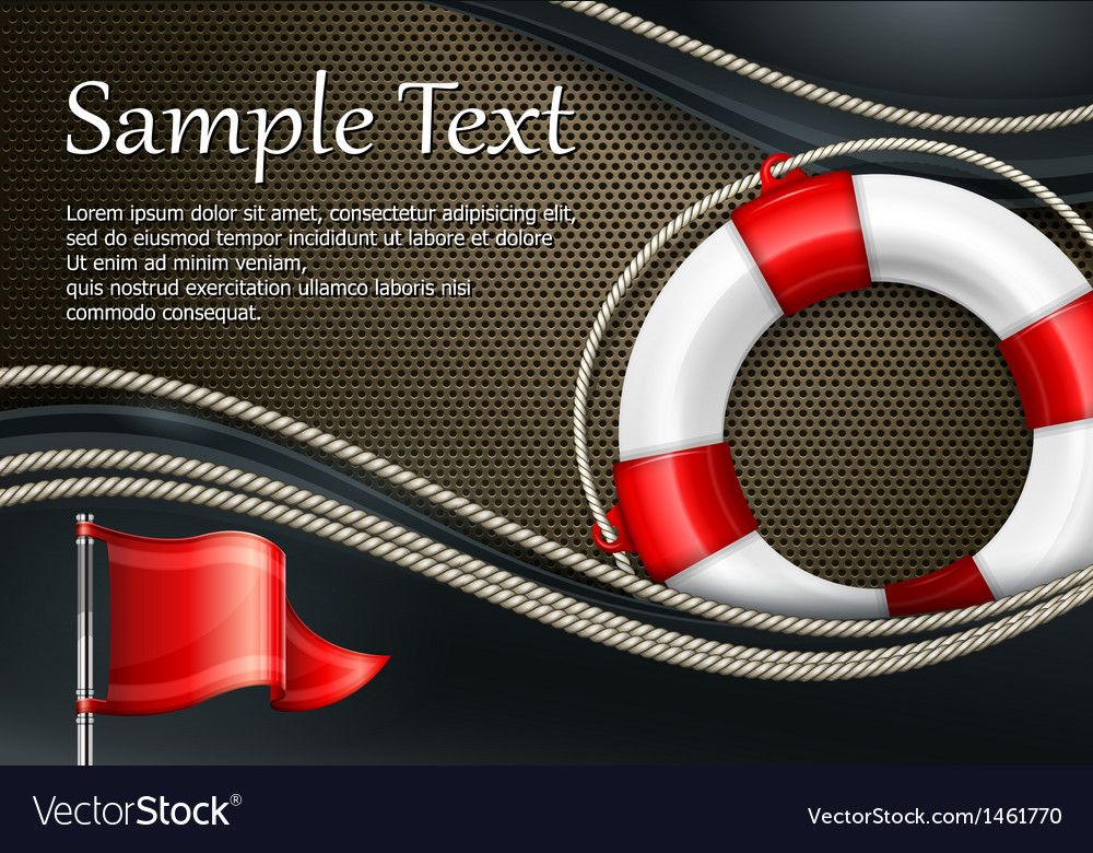 Life buoy with flag on mash vector