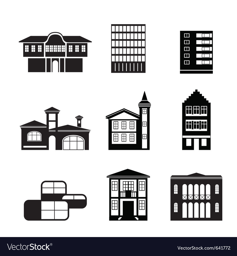 Different kind of houses and buildings vector
