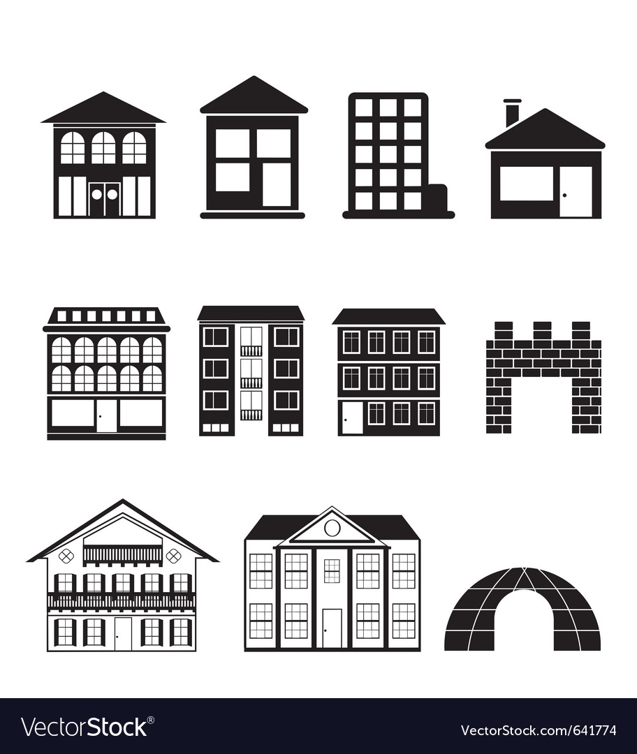 Different kinds of houses and buildings vector