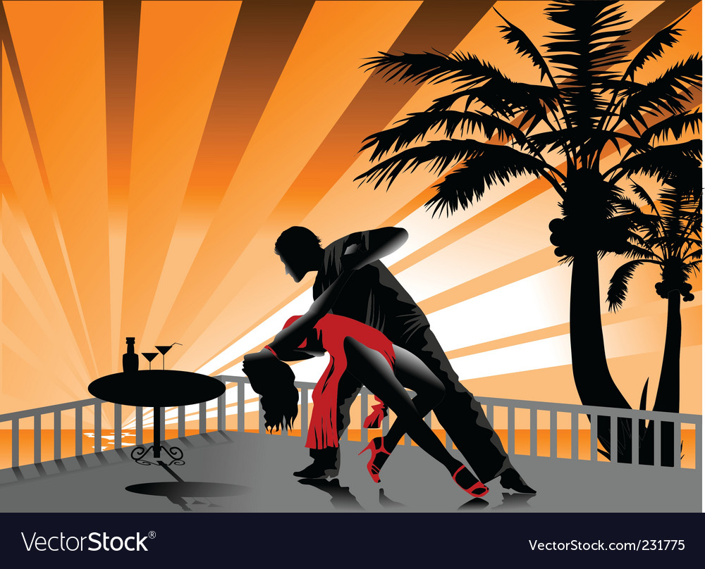 Tango on the beach vector