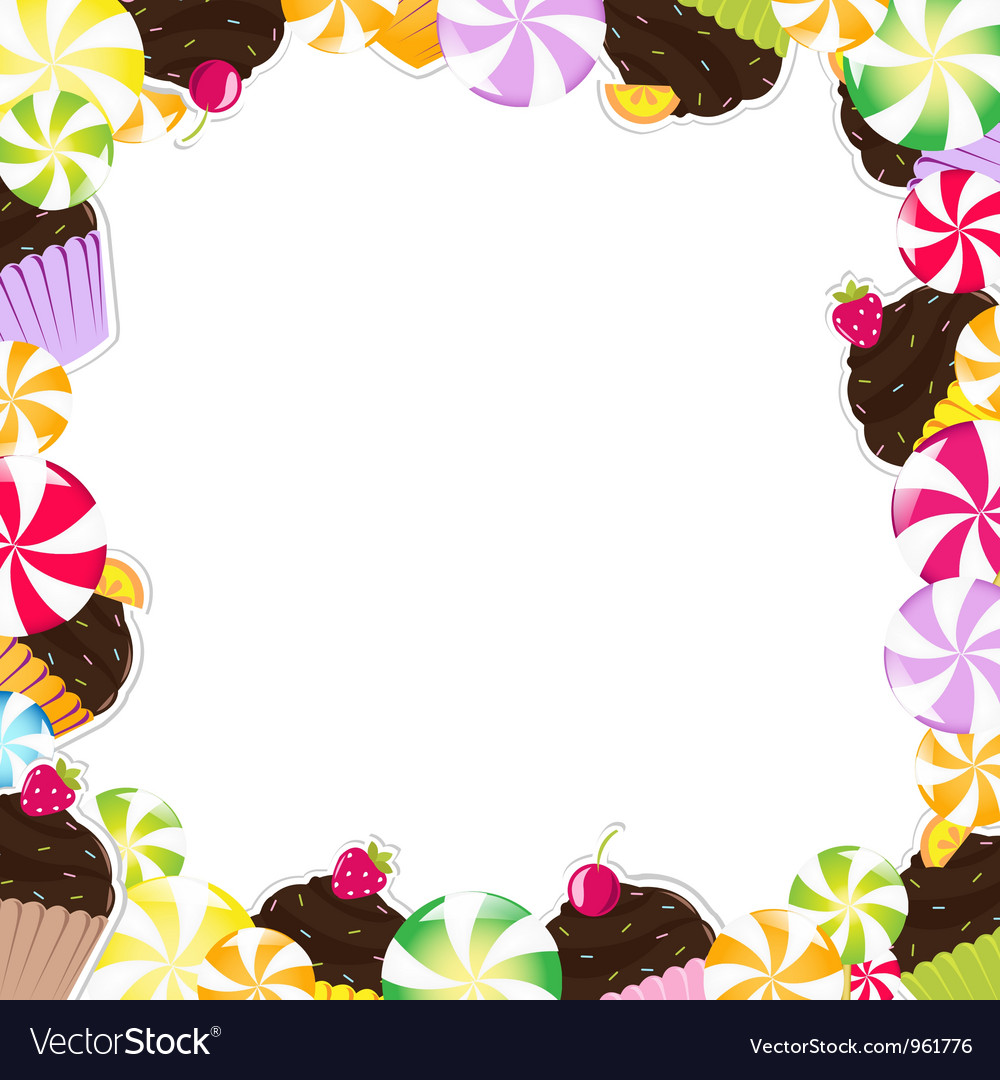 Cupcake candy frame vector
