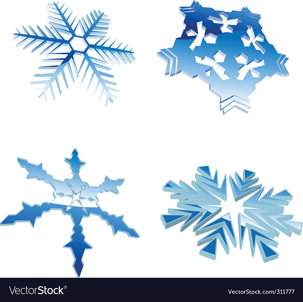 Set of glow blue winter 3d snowflakes vector