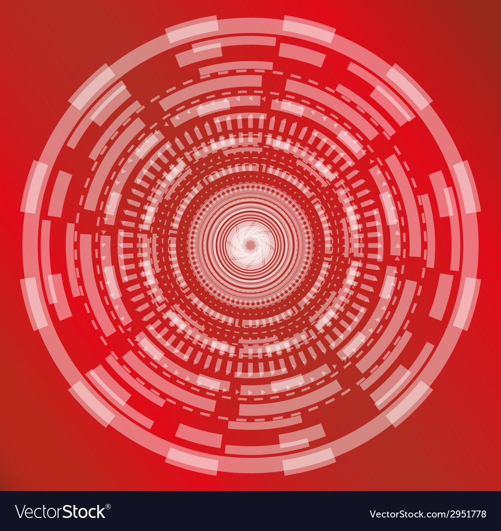 Red abstract technology circle background vector