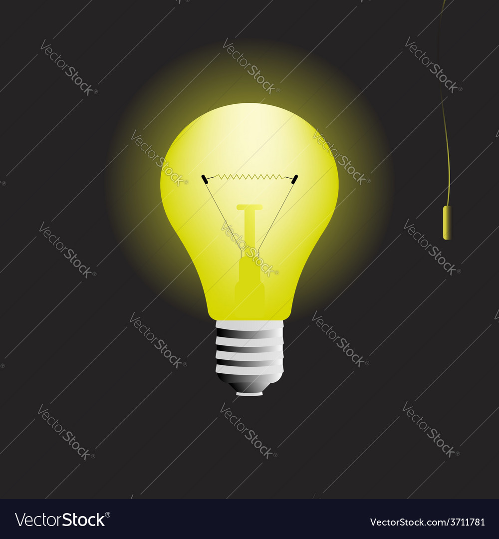 Glowing light bulb in the dark with switch vector
