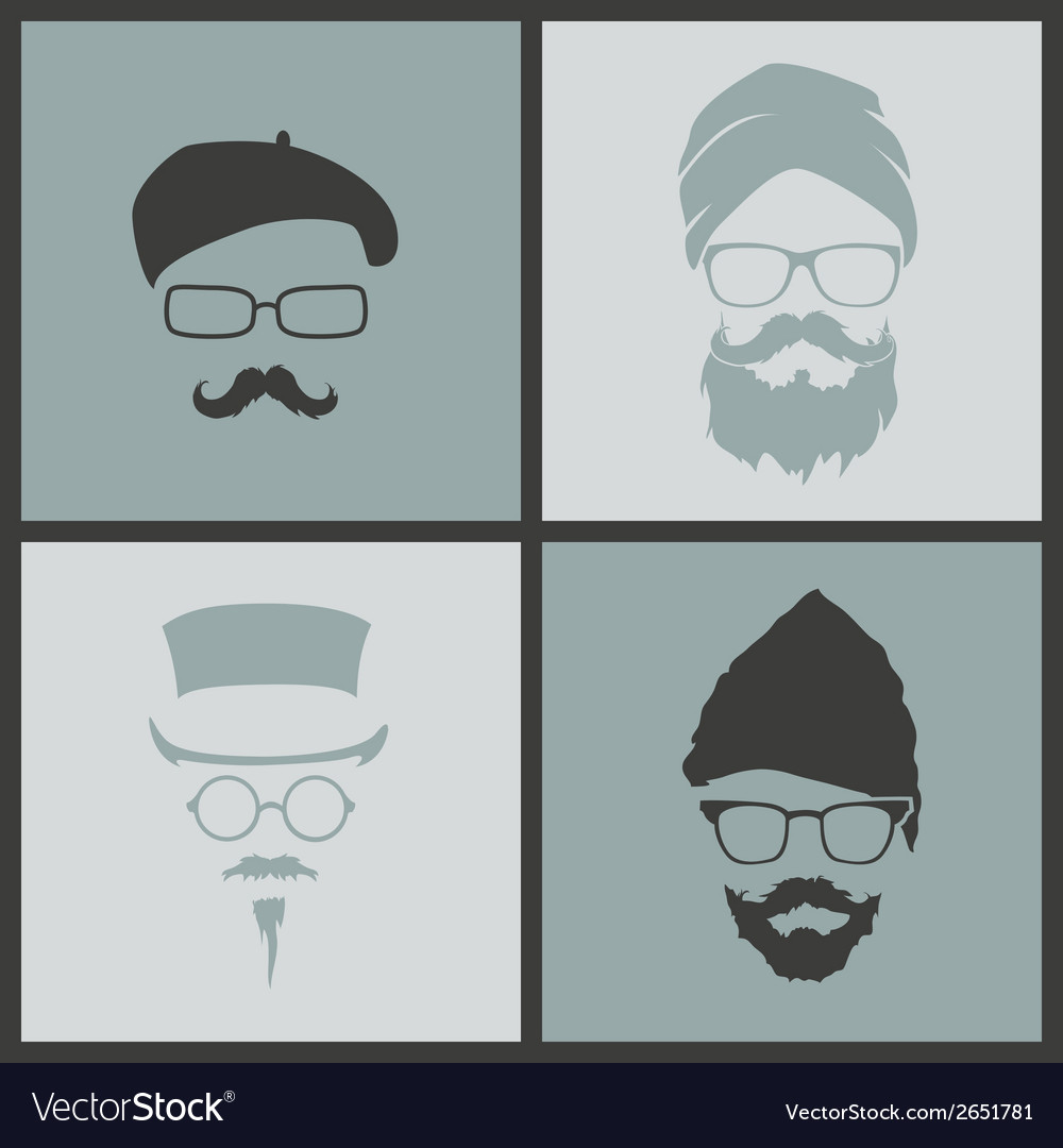 Icons hairstyles beard and mustache hipster vector