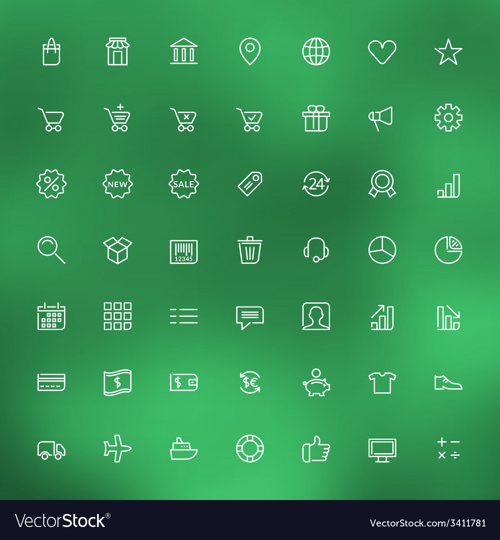 Thin line shopping and business icons set for web vector