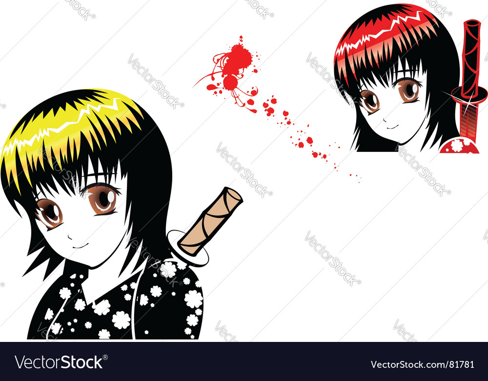 Young girl in manga style vector