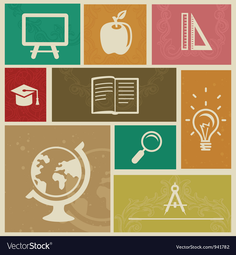 Set with vintage education labels - vector