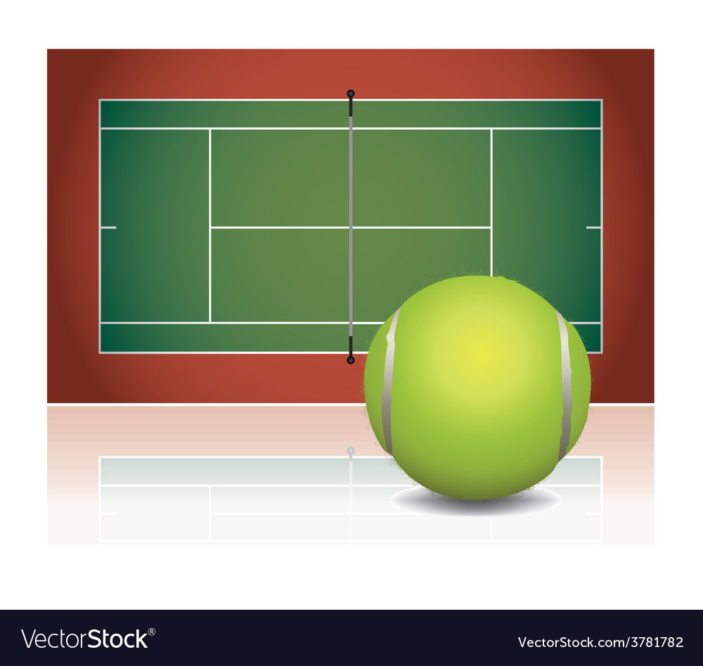 Tennis court and ball vector