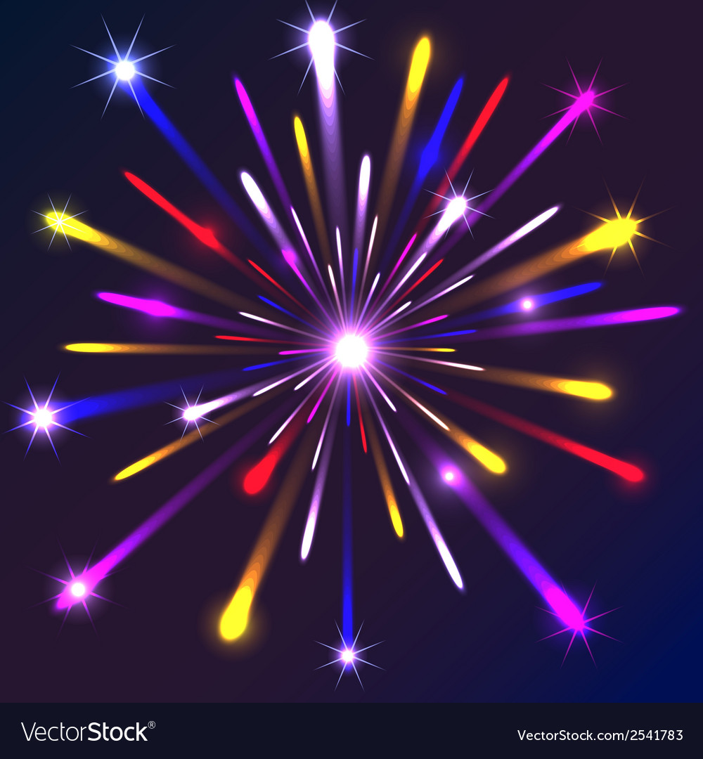 Graphic fireworks in black background vector