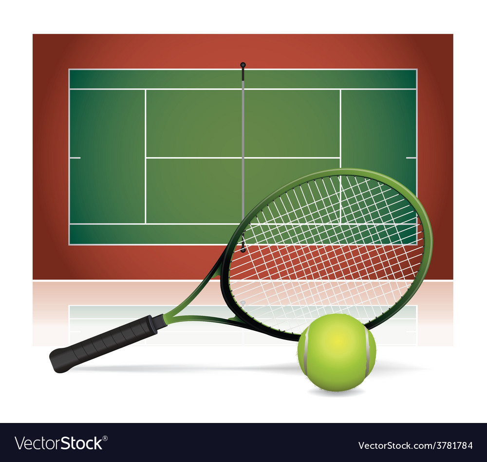 Tennis court ball and racket vector