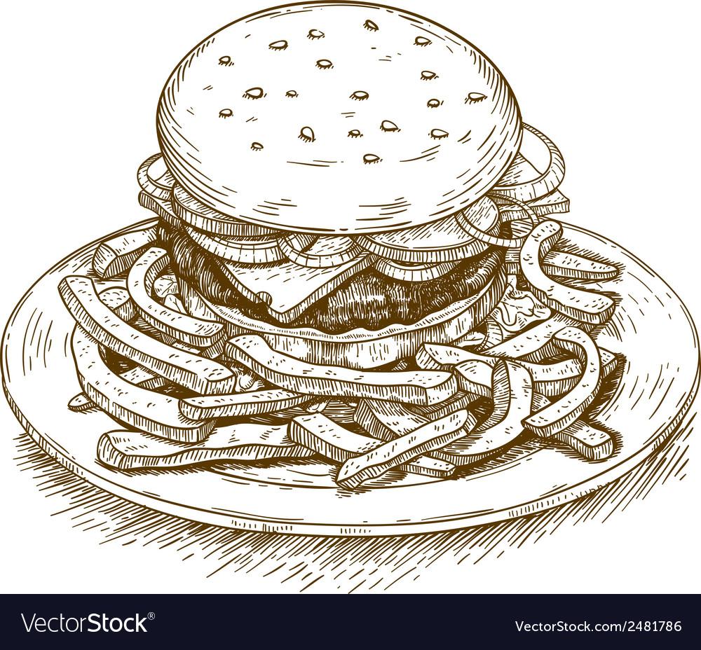 Engraving hamburger vector