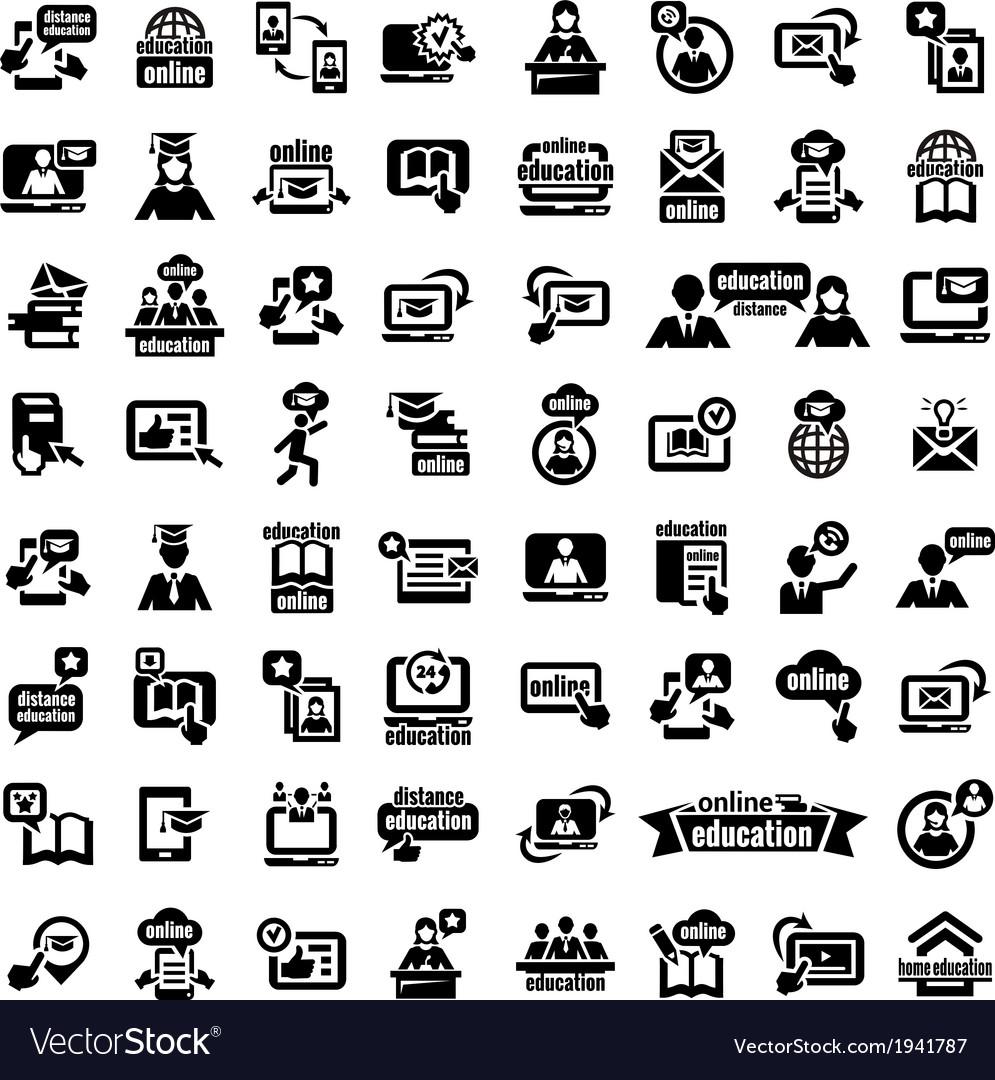 Big online education icons set vector