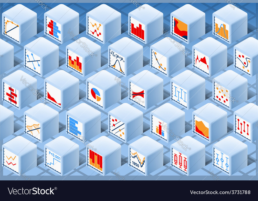 Isometric stats element cube set vector