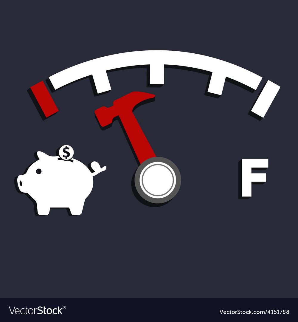 Oil empty pig bank vector
