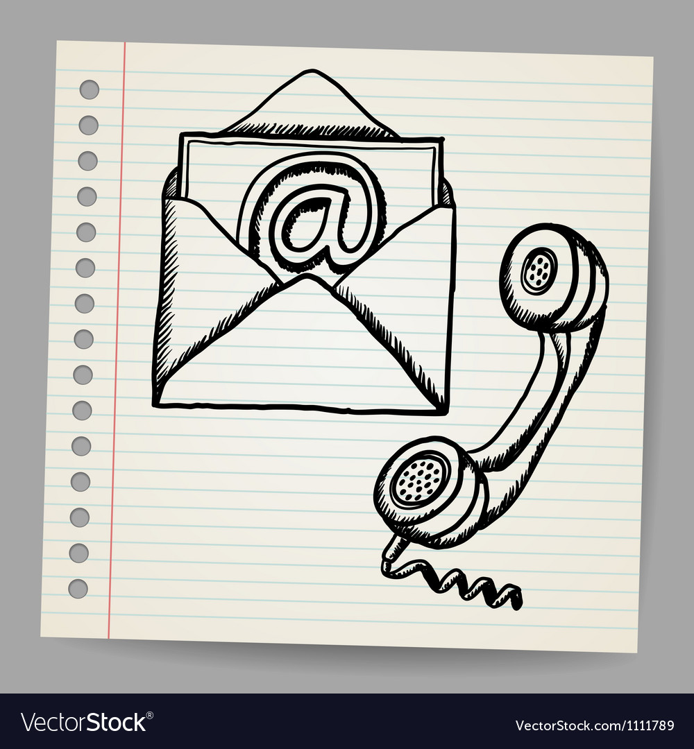 Contact us doodle icons vector