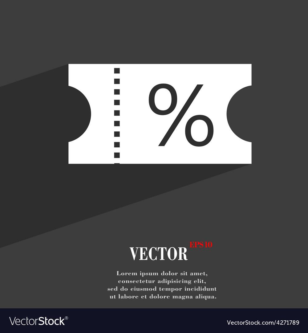 Ticket discount icon symbol flat modern web design vector