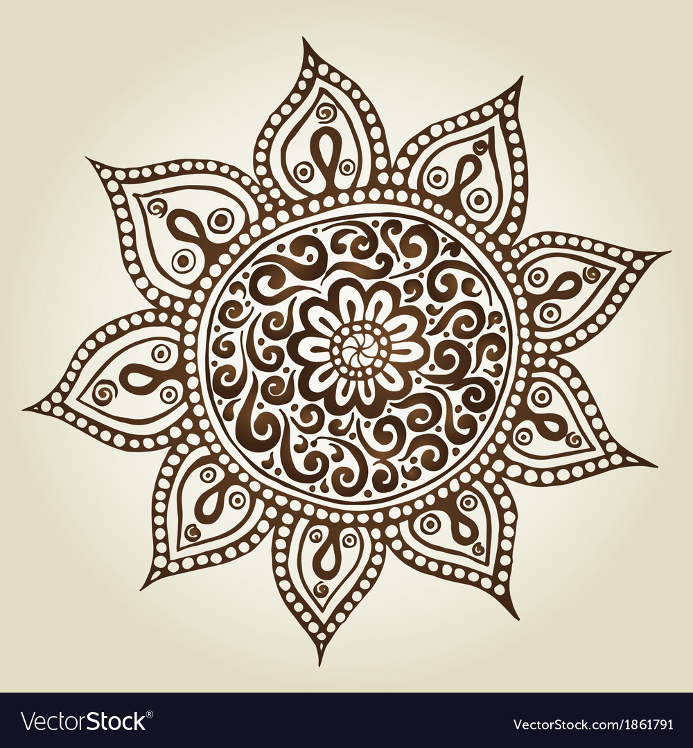 Mandala round ornament pattern ornamental flowers vector