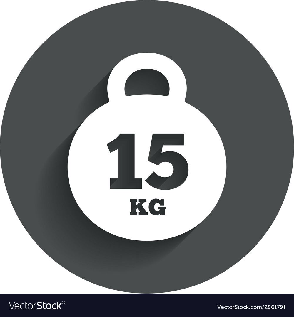 Weight sign icon 15 kilogram kg sport symbol vector