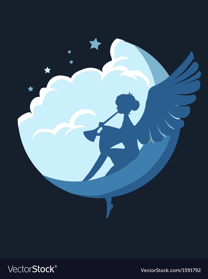 Angel on the moon vector