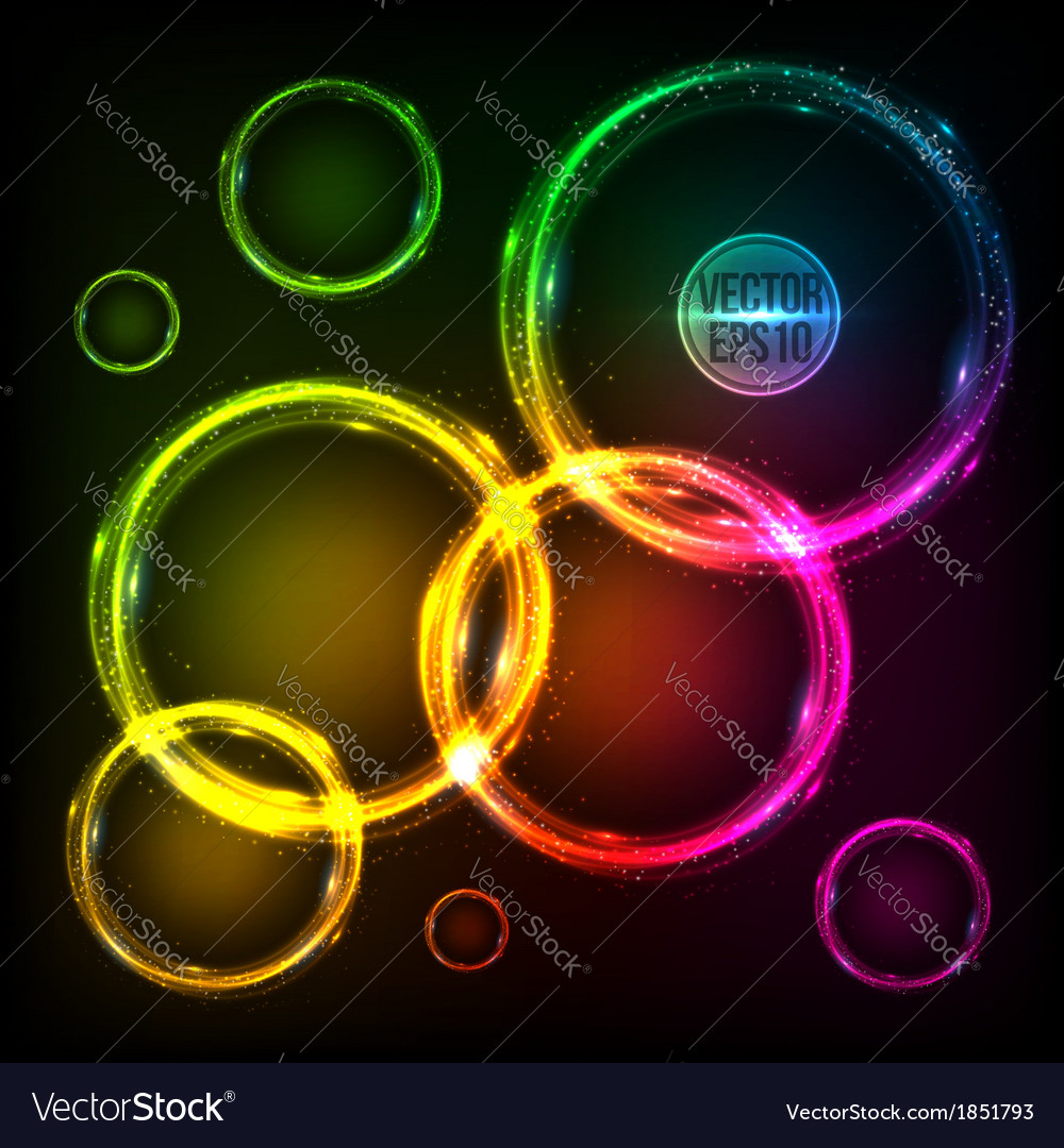 Colorful neon circles abstract frames background vector