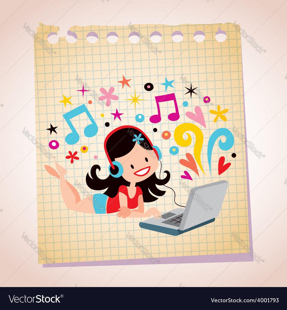 Headphones laptop pretty girl note paper cartoon vector