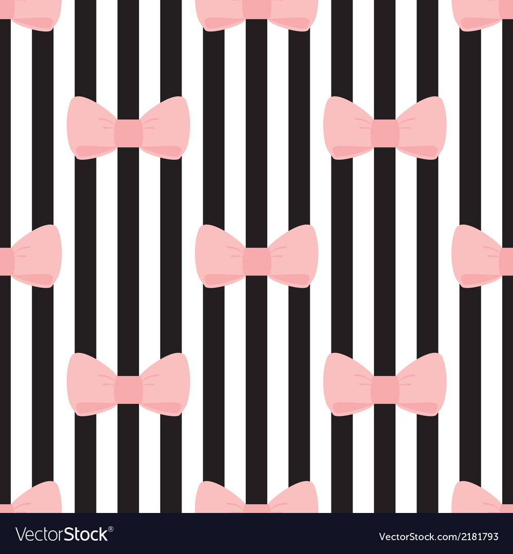 Tile black white pink pattern with bows vector