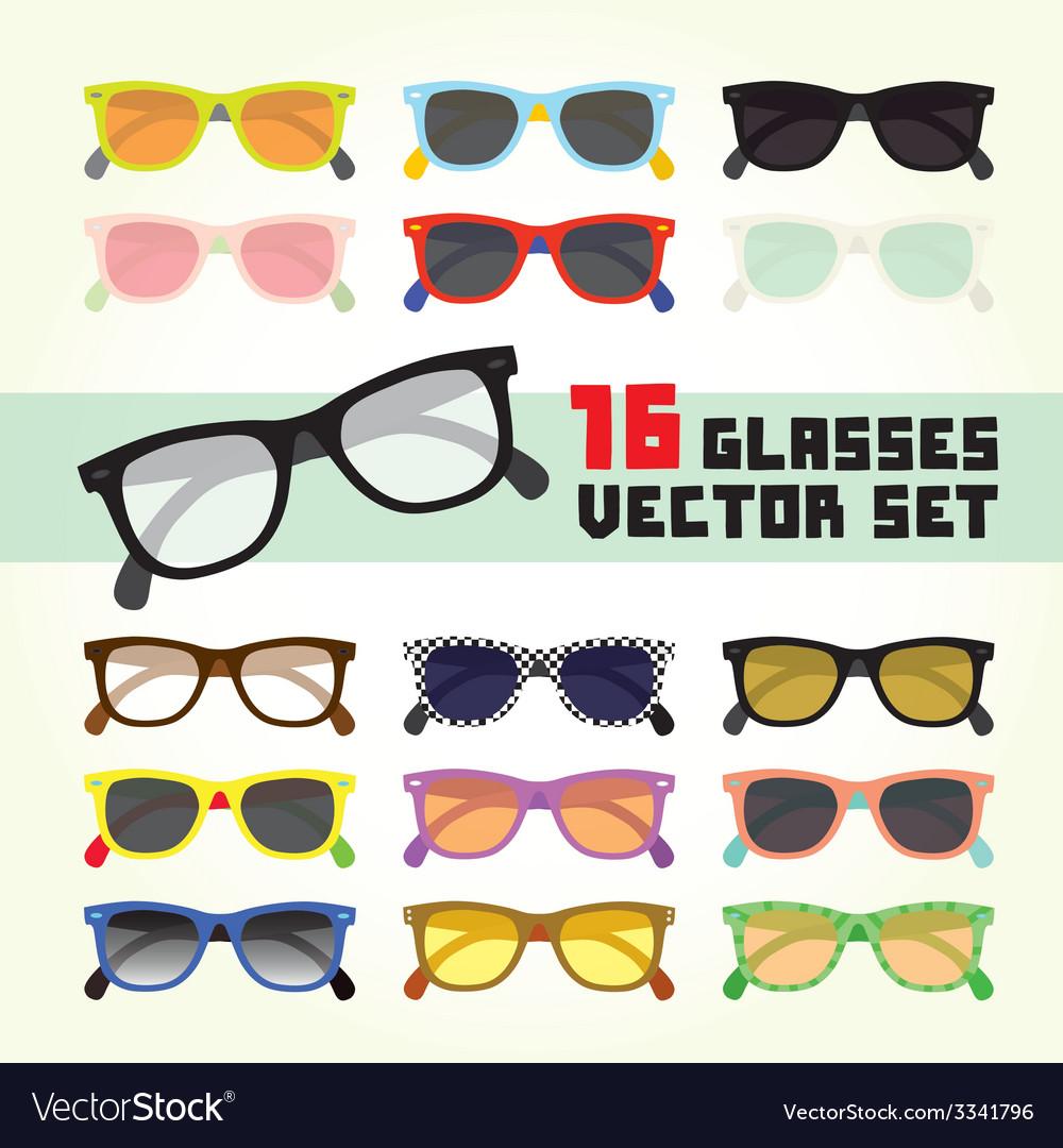 Hipster glasses set vector