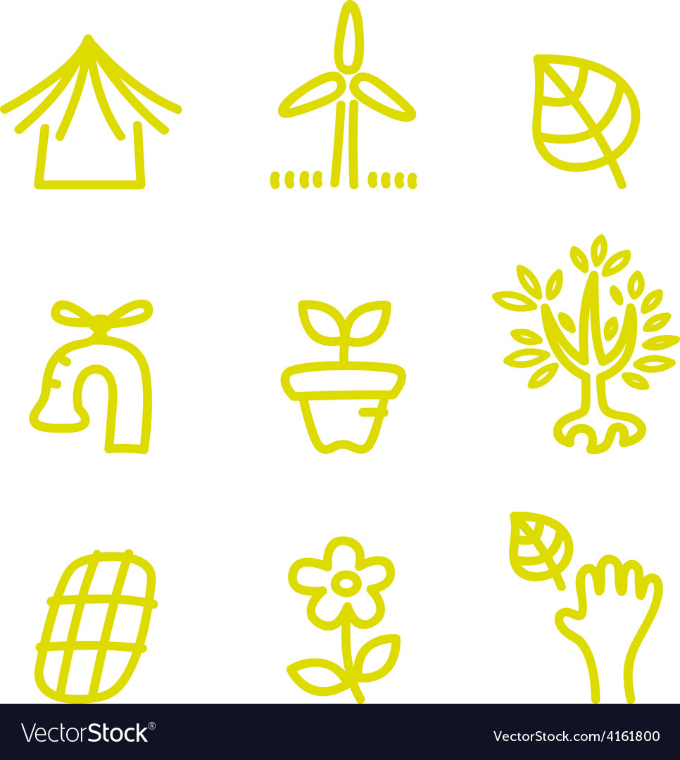 Green doodle environment and nature icons vector