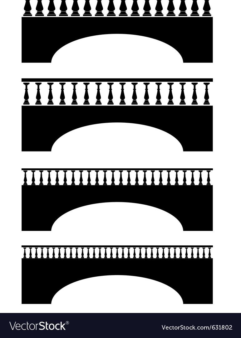Set of ancient stone bridge black silhouettes vector