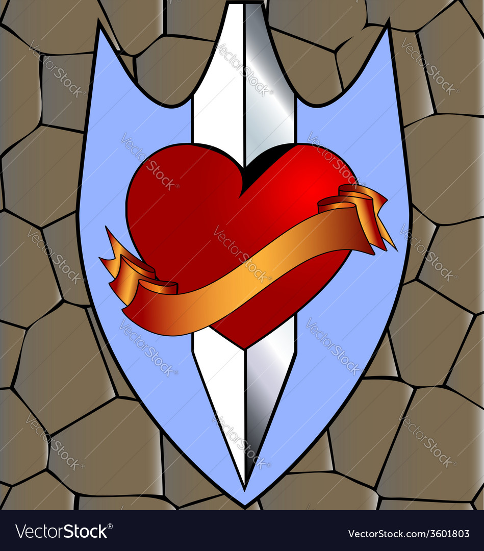 Abstract heart and knife vector