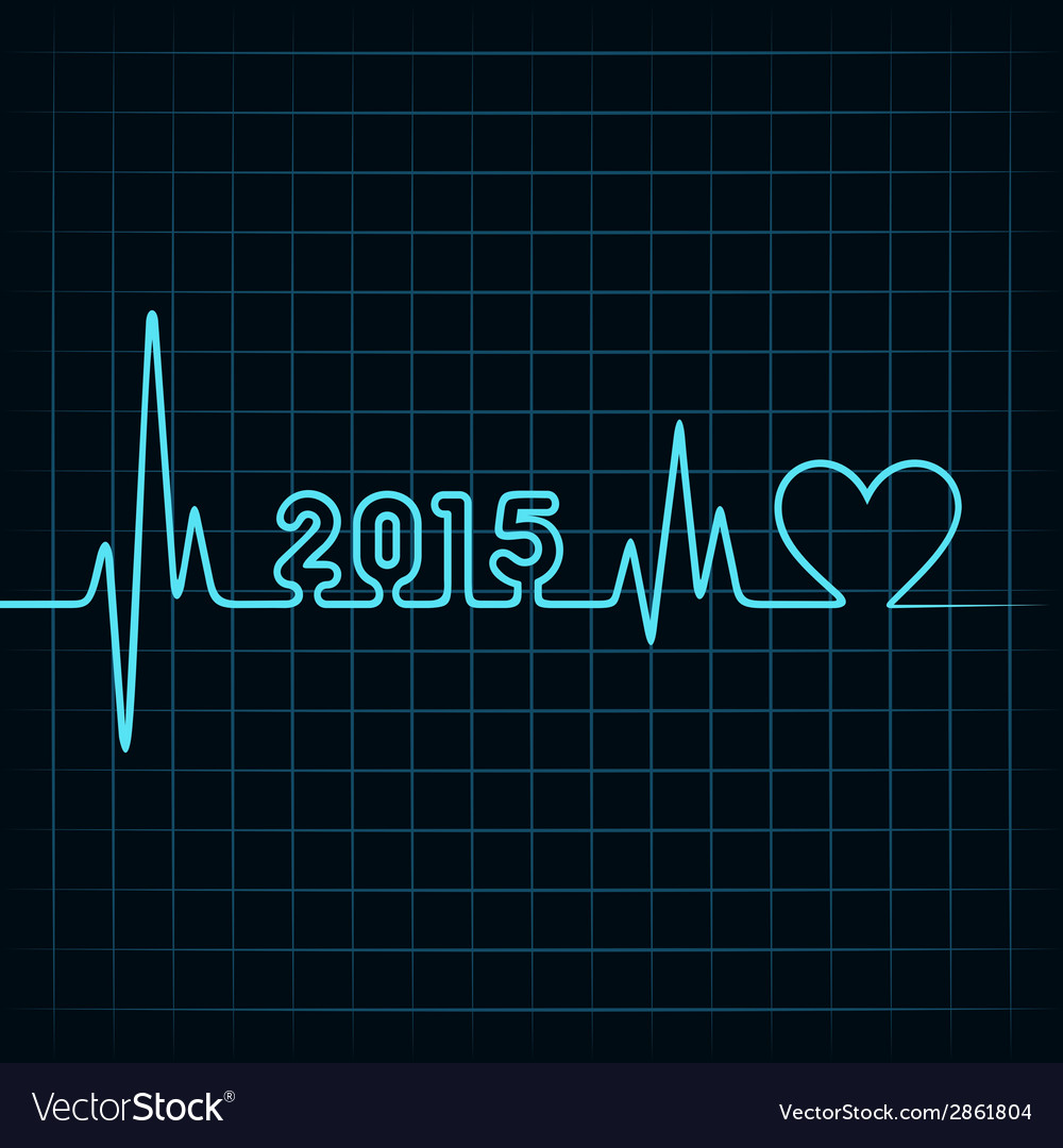 Heartbeat make 2015 and heart symb vector