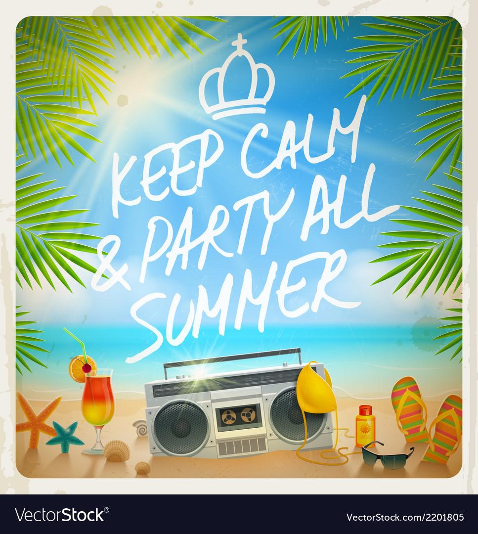 Tropical beach summer party - vintage design vector