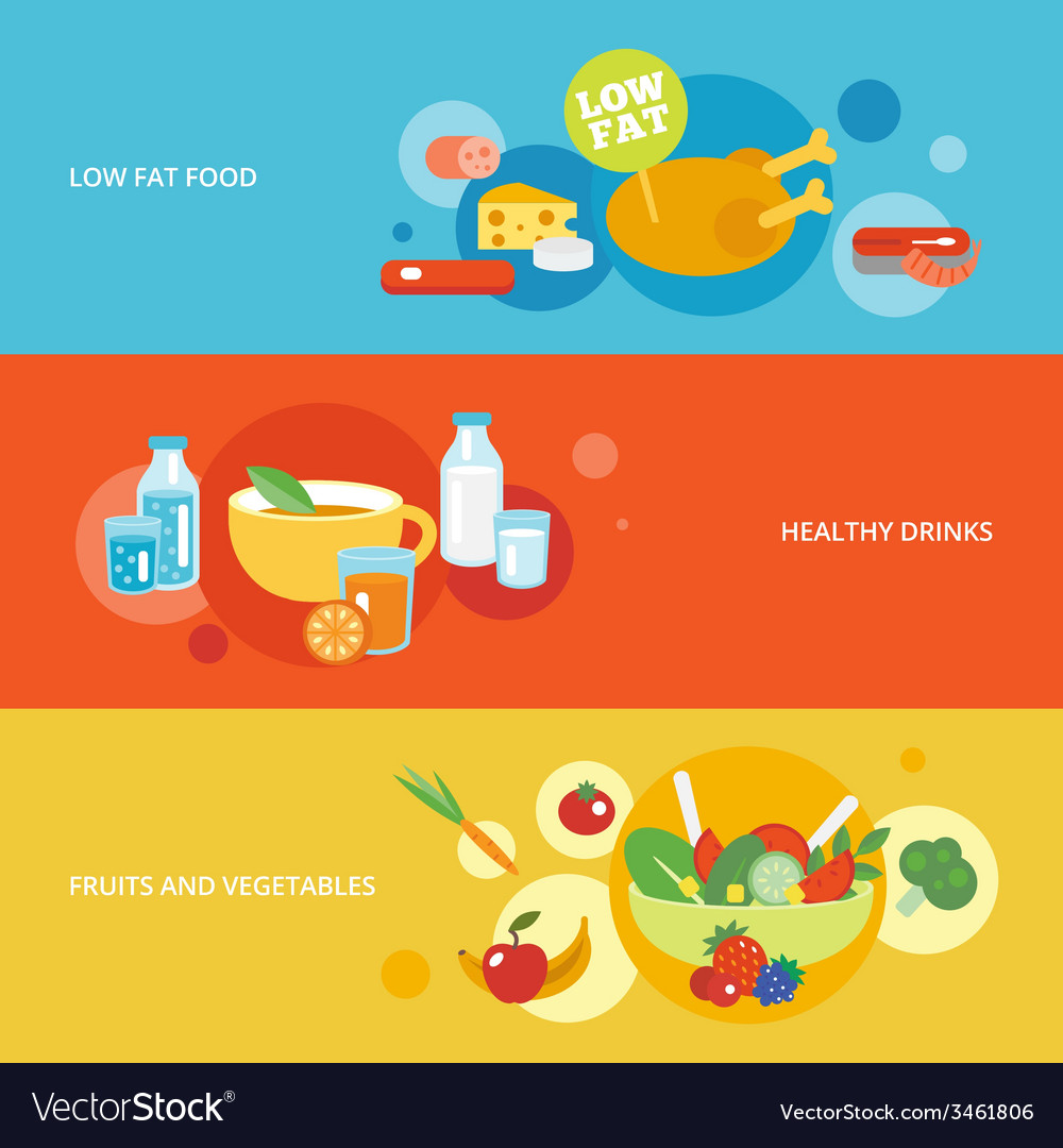 Healthy eating flat banner set vector