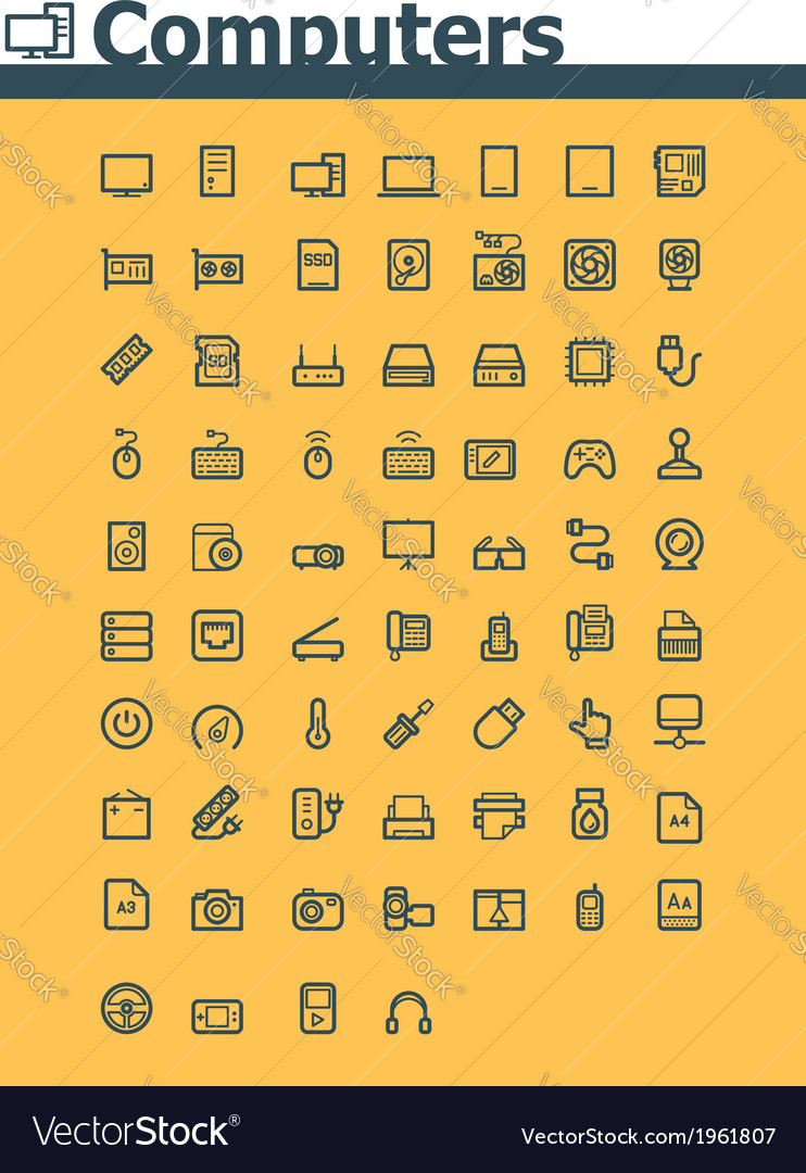 Computer icon set vector