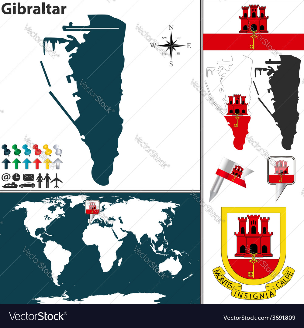 Gibraltar map world vector