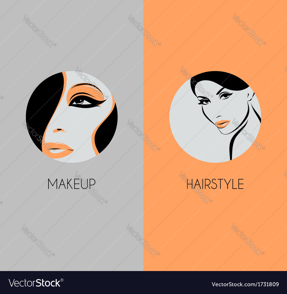 Girl face closeup hairstyle and makeup beauty badg vector