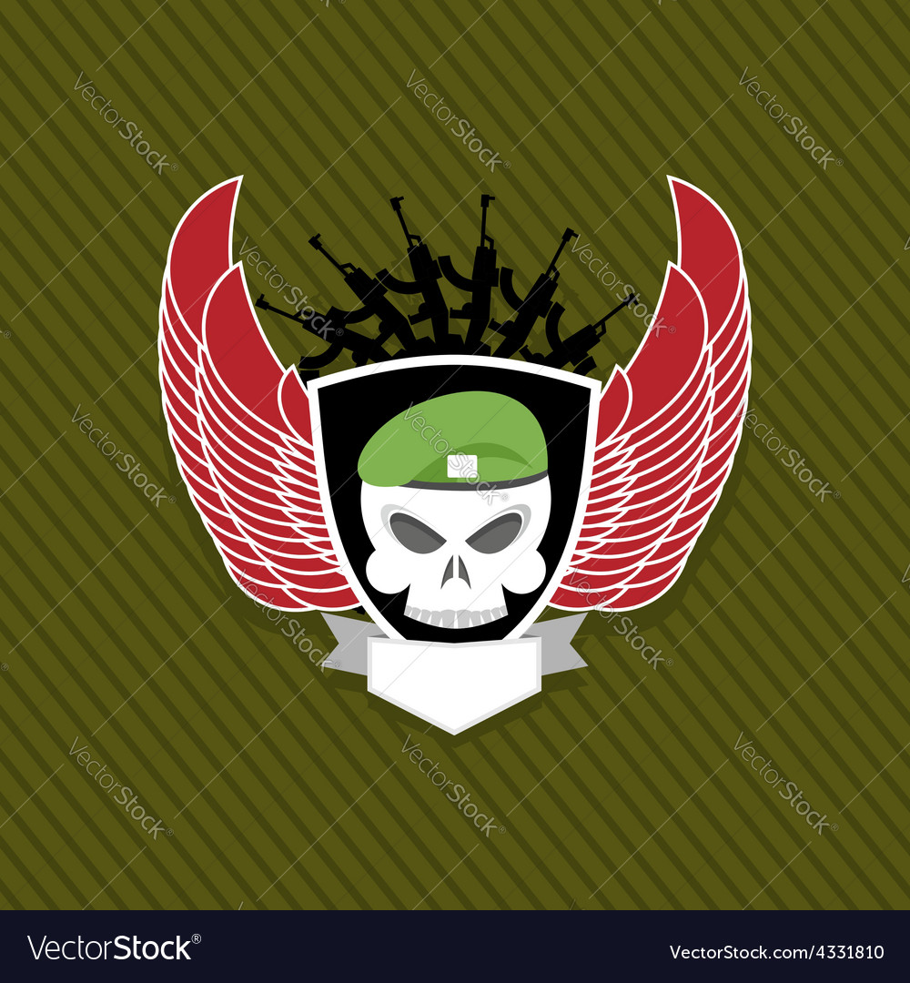 Skull with wings to take military emblem label on vector
