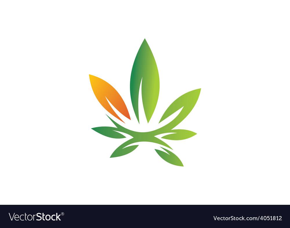 Cannabis leaf abstract logo vector
