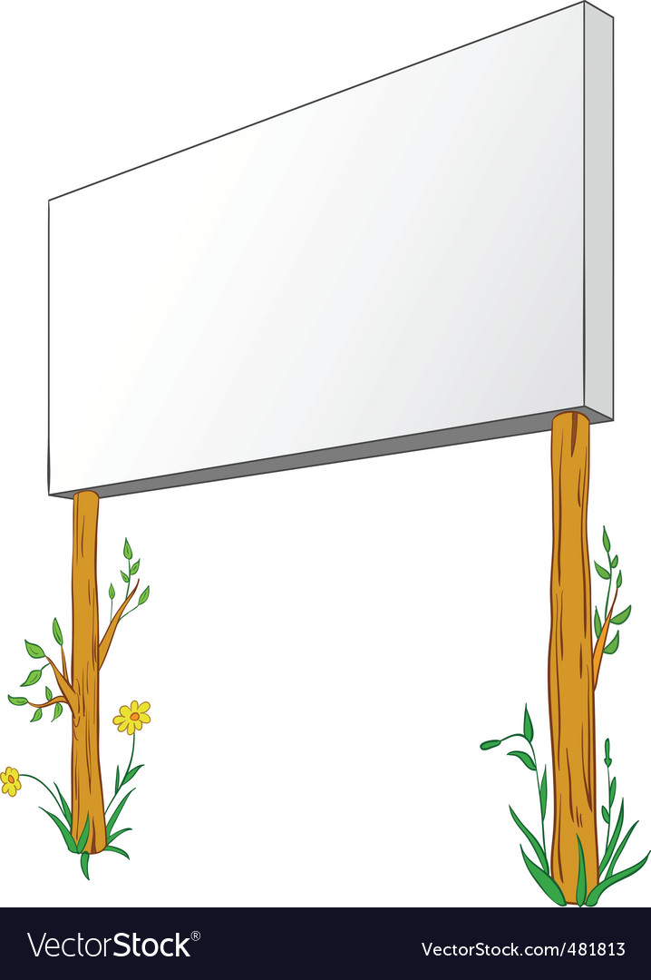 Blank billboard on wooden column vector
